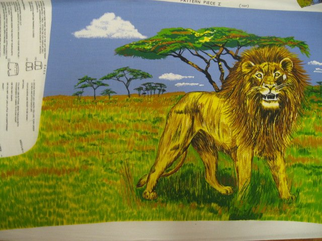 Safari Jungle Lion and Zebra Fabric Boxer shorts or pillow panel to sew