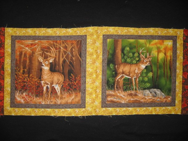 Buck deer in the woods two Fabric pillow panel set to sew