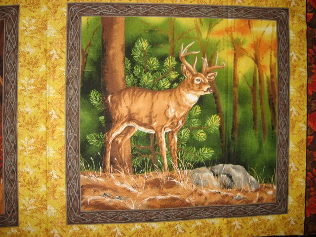Image 1 of Buck deer in the woods two Fabric pillow panel set to sew