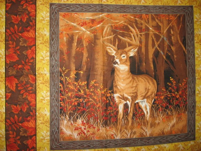Image 2 of Buck deer in the woods two Fabric pillow panel set to sew