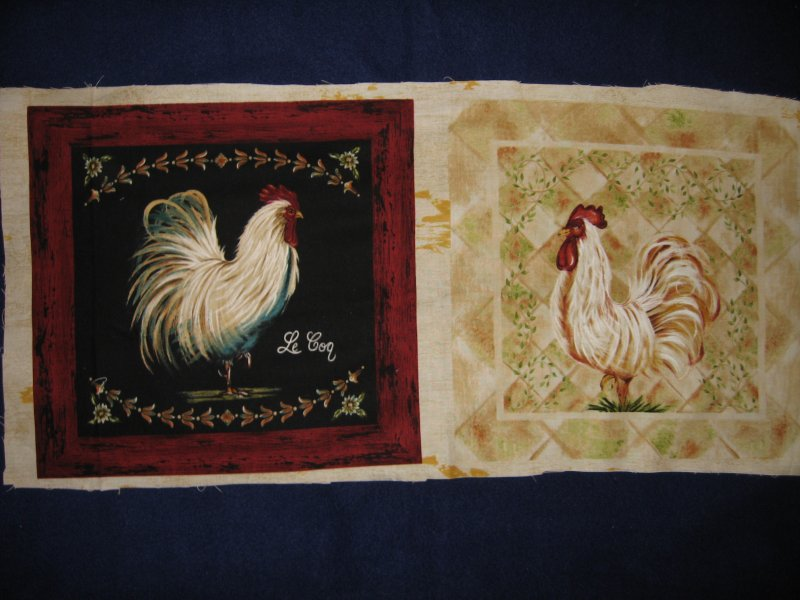 Roosters chickens Two Fabric Panel set to sew