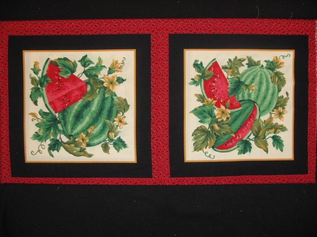 Image 0 of Watermelon flowers and vines Fabric pillow panel set of Two
