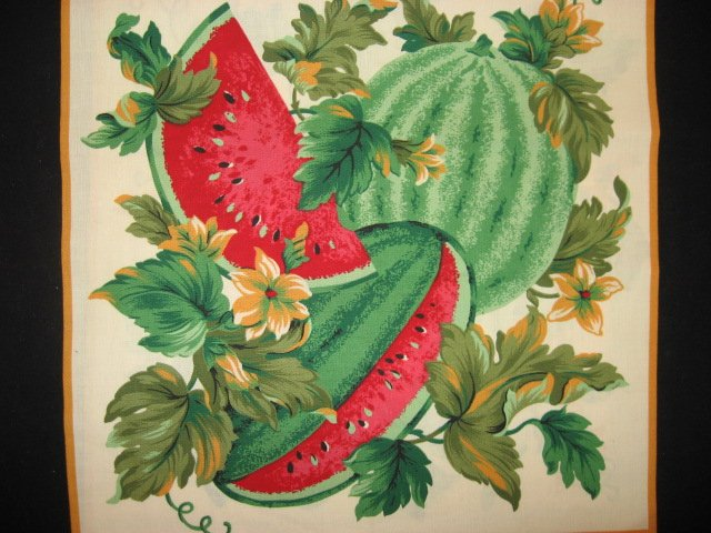 Image 1 of Watermelon flowers and vines Fabric pillow panel set of Two