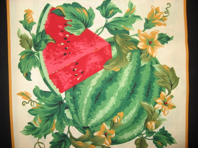 Image 2 of Watermelon flowers and vines Fabric pillow panel set of Two