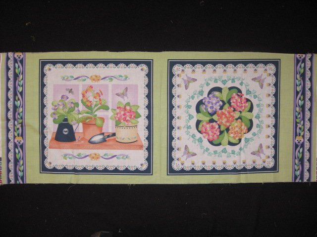 Lilac and peach flowers fabric pillow panel set of two to sew