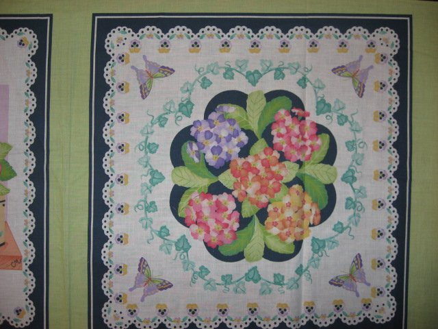Image 1 of Lilac and peach flowers fabric pillow panel set of two to sew