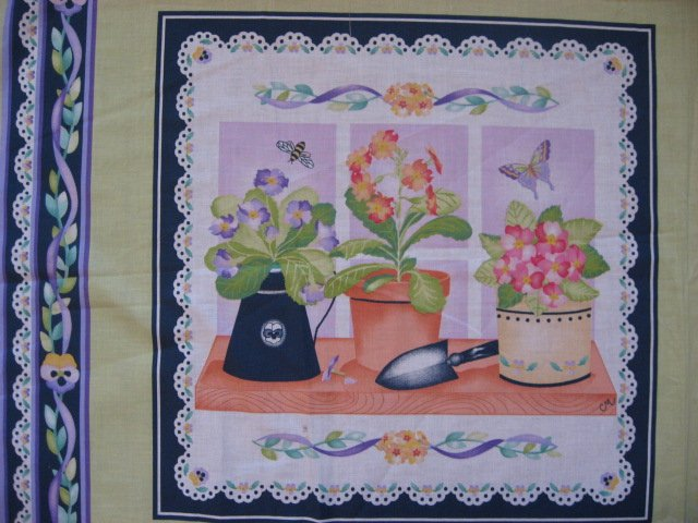 Image 2 of Lilac and peach flowers fabric pillow panel set of two to sew