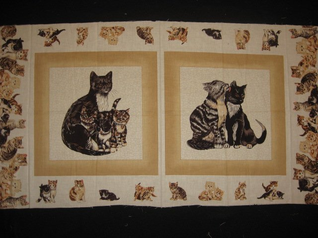 Image 0 of cat kitten kitty baby  Dad  M0m Fabric Pillow Panel set to sew Approx 1/2 yard