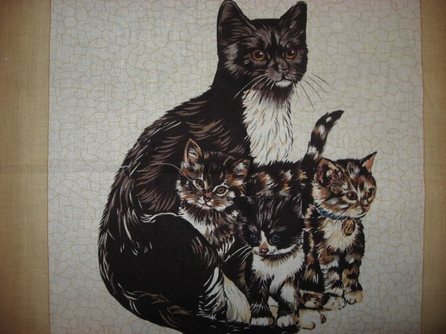 Image 2 of cat kitten kitty baby  Dad  M0m Fabric Pillow Panel set to sew Approx 1/2 yard
