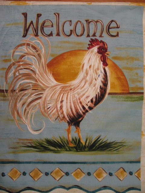 Rooster Poultry Welcome fabric craft door panel to sew 24X19 //