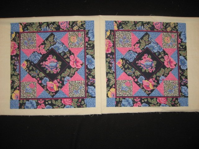 pink blue flowers cheater fabric pillow panel set of two to sew. Black Bedroom Furniture Sets. Home Design Ideas
