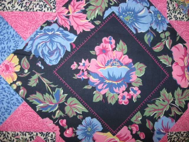 Image 2 of Pink blue flowers cheater fabric pillow panel set of two to sew