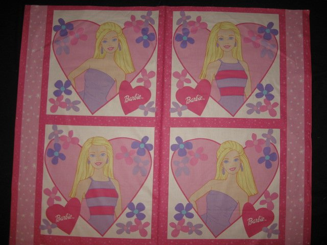 Blonde Barbie Set of Four Pillow Panels Fabric to sew