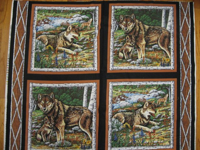 Four Fabric wolf Pillow Panels set with wolves in the Birch Woods quilt sewing
