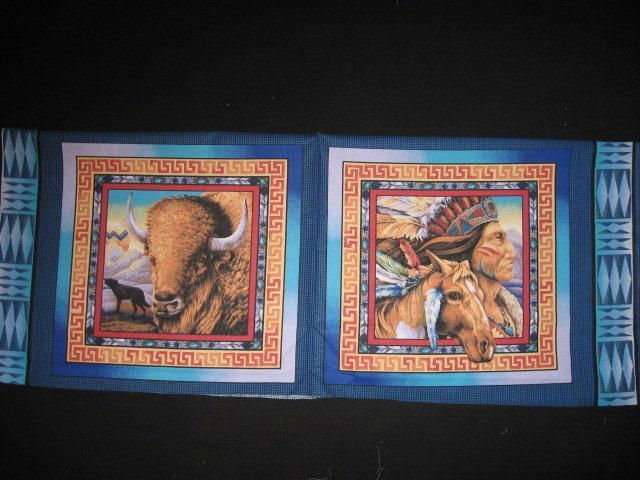 Indian chief horse and Buffalo with wolf Southwest two Fabric Pillow Panels