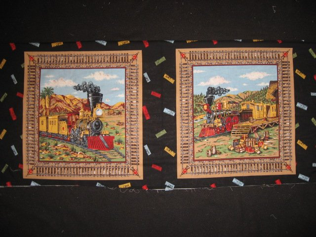 Trains cactus stagecoach Fabric pillow panel set of two different pictures