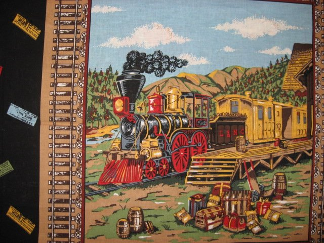 Image 1 of Trains cactus stagecoach Fabric pillow panel set of two different pictures