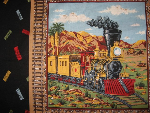 Image 2 of Trains cactus stagecoach Fabric pillow panel set of two different pictures