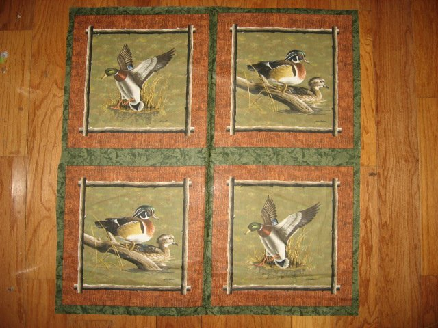 Hautman wood duck on a log in a lake Fabric 4 Pillow Panel set to sew