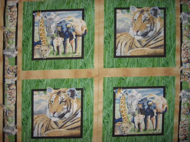 Tiger Lion Giraffe Elephant Rhino green Fabric Pillow Panels Set of four to sew