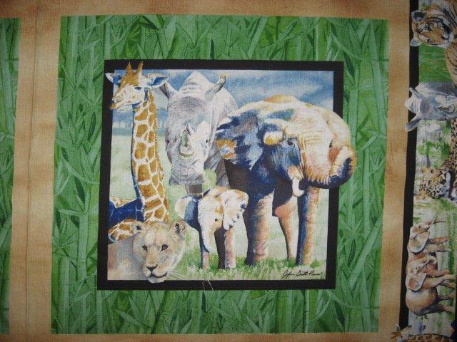 Image 1 of Tiger Lion Giraffe Elephant Rhino green Fabric Pillow Panels Set of four to sew