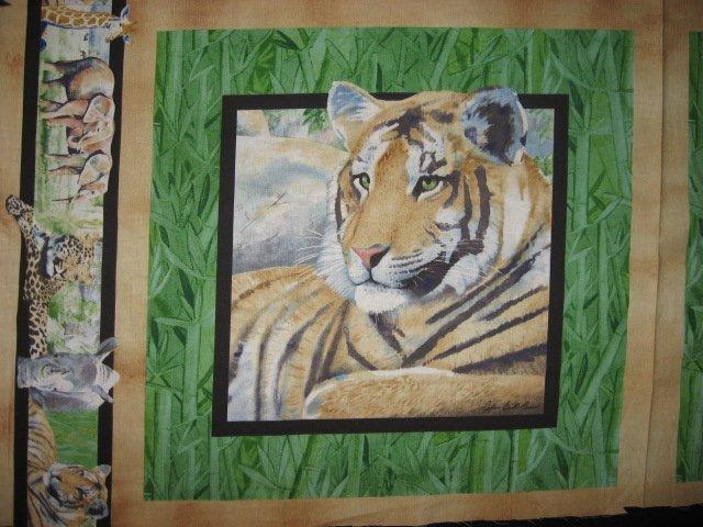 Image 2 of Tiger Lion Giraffe Elephant Rhino green Fabric Pillow Panels Set of four to sew