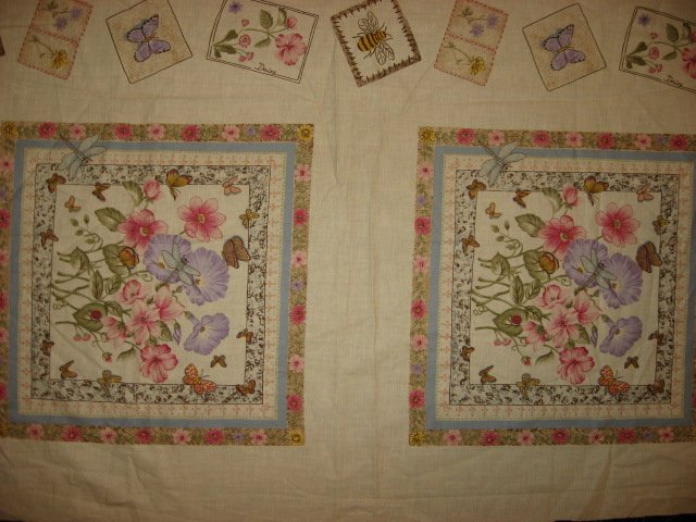 Image 0 of Pink Flowers Morning Glories Two fabric pillow panels to sew/