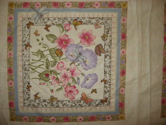 Image 1 of Pink Flowers Morning Glories Two fabric pillow panels to sew/