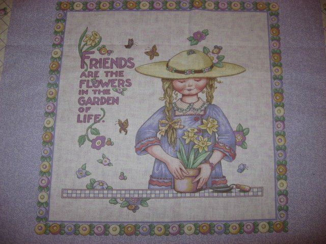 Mary Engelbreit Lilac Fabric Pillow Panel set of two Friends are the flowers..
