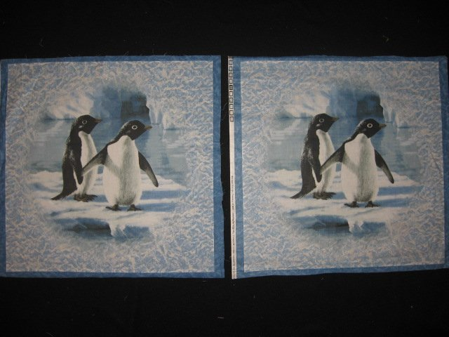 Artist Hautman two penguins on ice with glitter fabric Two pillow panels to sew