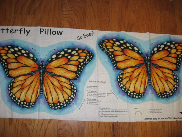 Image 0 of Monarch Butterfly fabric pillow panel to sew Makes 1 pillow
