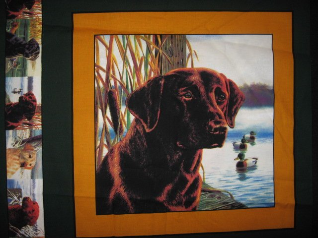Chocolate Labrador Retriever Hunting dog One Pillow Panel Fabric to sew