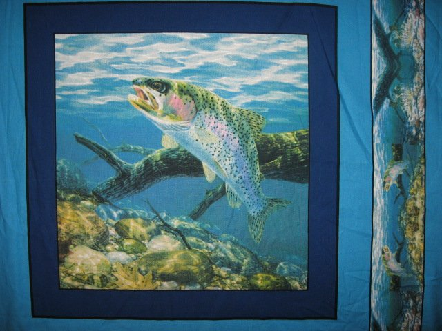 Image 2 of Fish Rainbow Trout Fabric Pillow Panel Set of four
