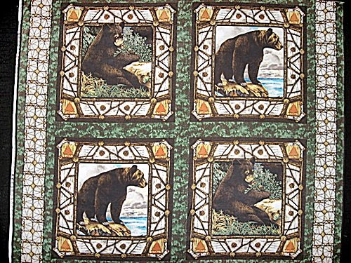 Bear Animal Woods cotton Fabric Pillow Panel Set of Four