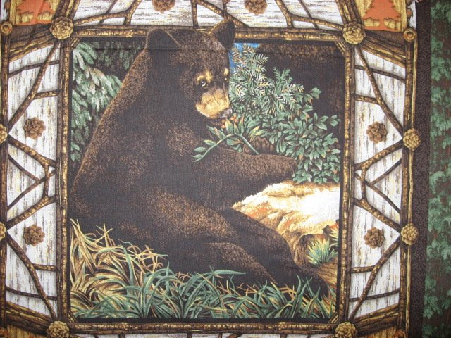 Image 1 of Bear Animal Woods cotton Fabric Pillow Panel Set of Four