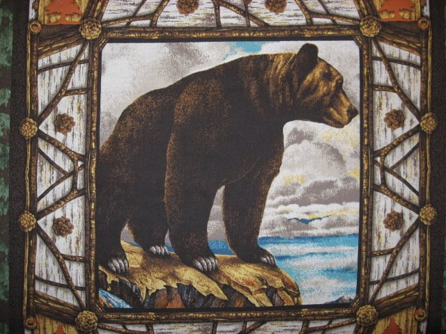 Image 2 of Bear Animal Woods cotton Fabric Pillow Panel Set of Four