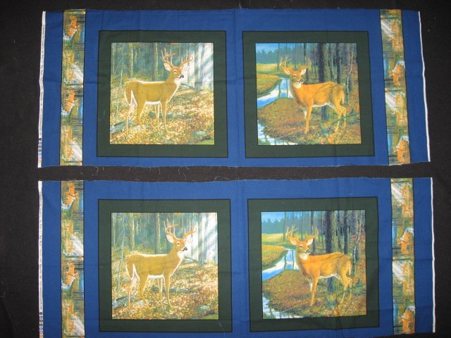 Deer in the sun in the woods cotton fabric pillow panel set of four to sew