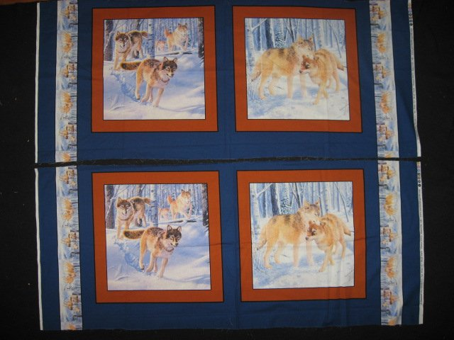 Wolf in the Snowy Woods Fabric Pillow Panels Set of four