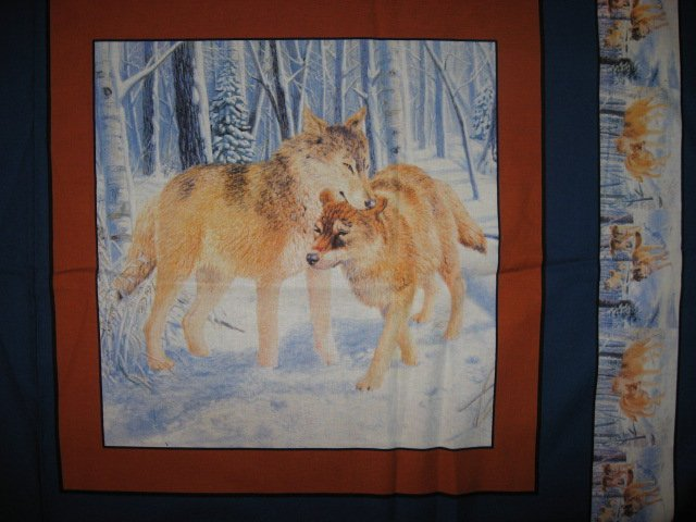 Image 1 of Wolf in the Snowy Woods Fabric Pillow Panels Set of four