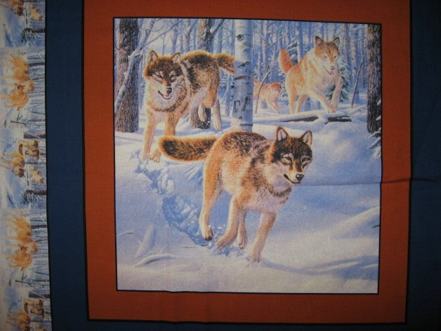 Image 2 of Wolf in the Snowy Woods Fabric Pillow Panels Set of four
