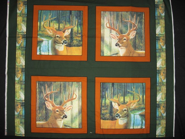 Deer Heads Four Fabric Pillow Panels Set to sew
