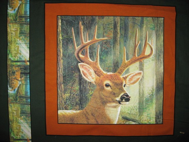 Image 1 of Deer Heads Four Fabric Pillow Panels Set to sew