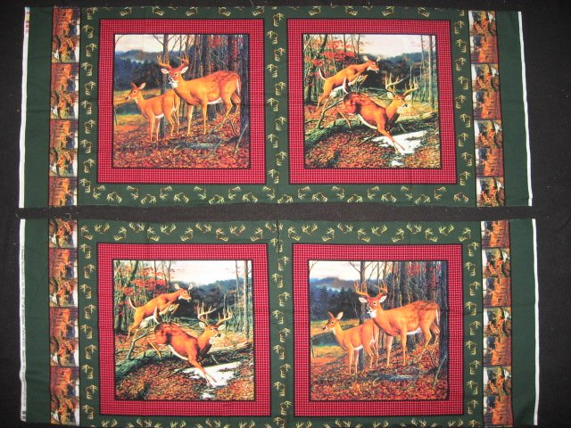 Deer running in the woods cotton fabric pillow panel set of four to sew