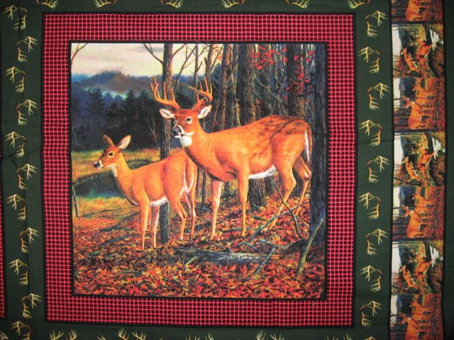Image 1 of Deer running in the woods cotton fabric pillow panel set of four to sew