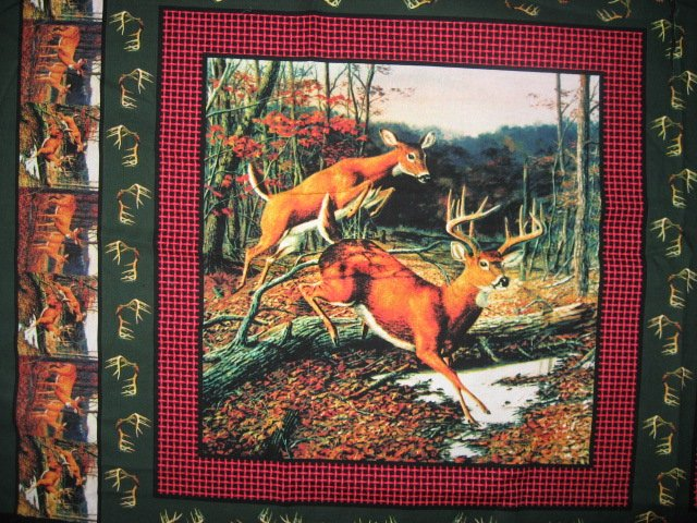 Image 2 of Deer running in the woods cotton fabric pillow panel set of four to sew