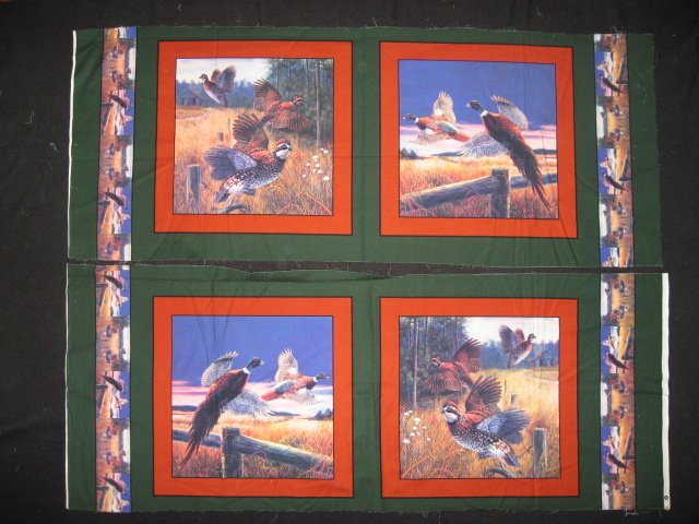 Bird Phesant in a field Four cotton Fabric pillow panels to sew