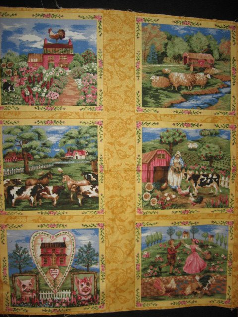Country scenes with flowers fabric panel set of Six different squares