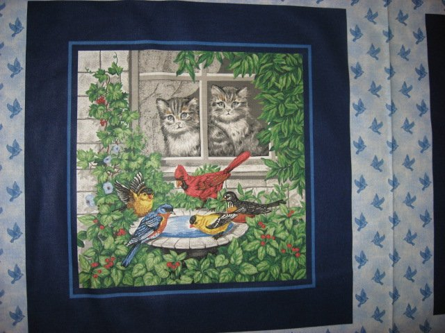 Image 1 of Cat Cardinal Robin and Bluebird two Fabric Pillow Panels Set of two to sew