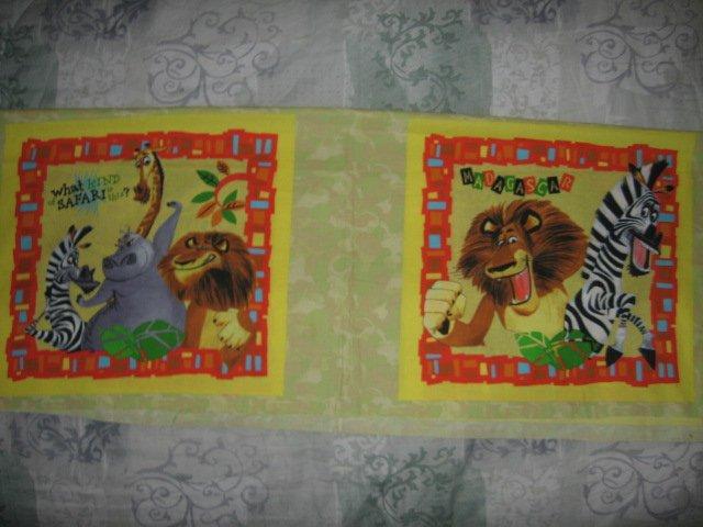 Madagascar Lion zebra giraffe hippo fabric pillow panel Set of two to sew