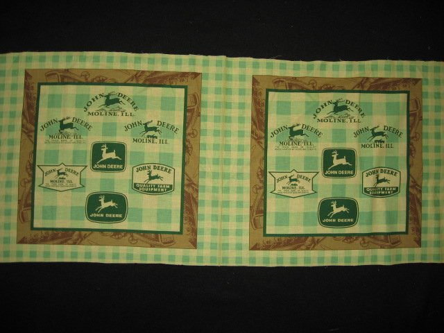 John Deere yellow and green checked pillow panel fabric lot of two to sew
